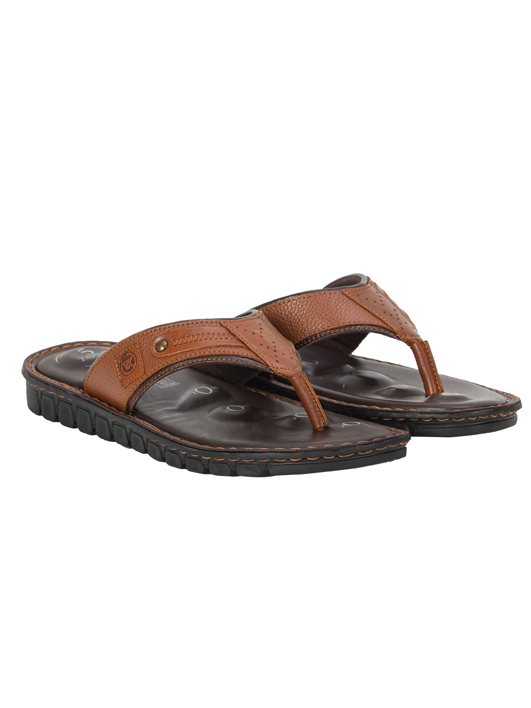 Buy VON WELLX ELMER COMFORT TAN SLIPPERS In Delhi