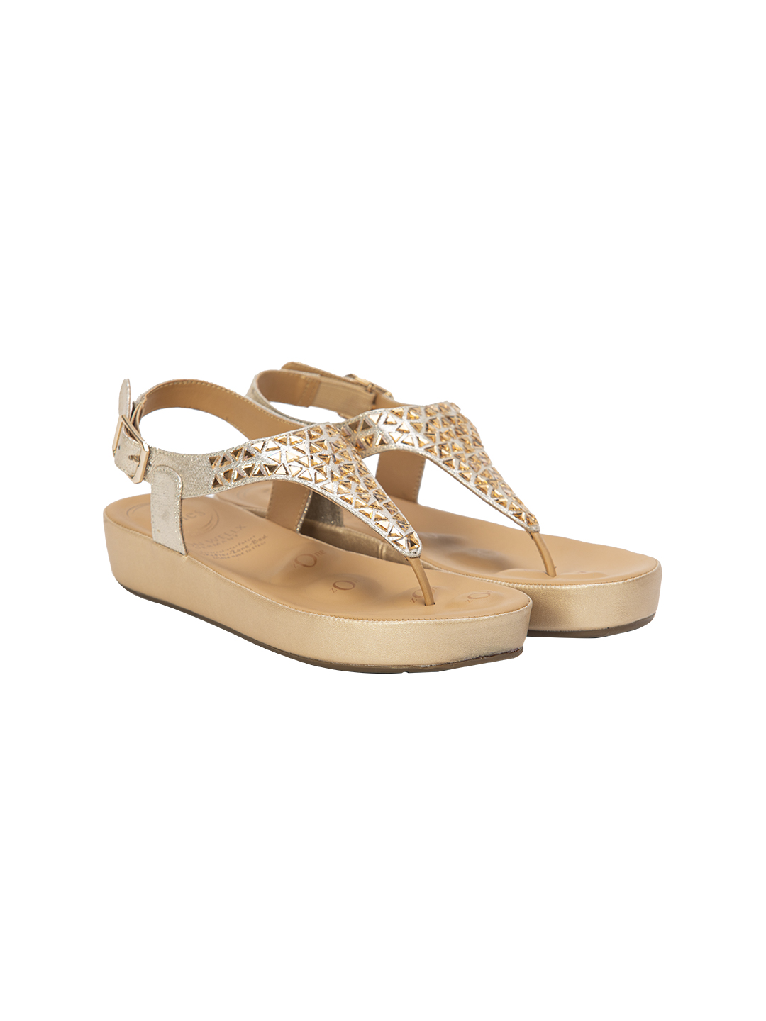 Buy Von Wellx Germany Comfort Haven Golden Sandals Online in Agra