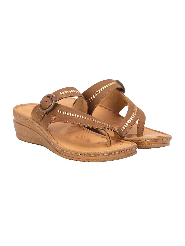 Buy Von Wellx Germany Comfort Glisten Chikoo Slippers Online in Dehradun