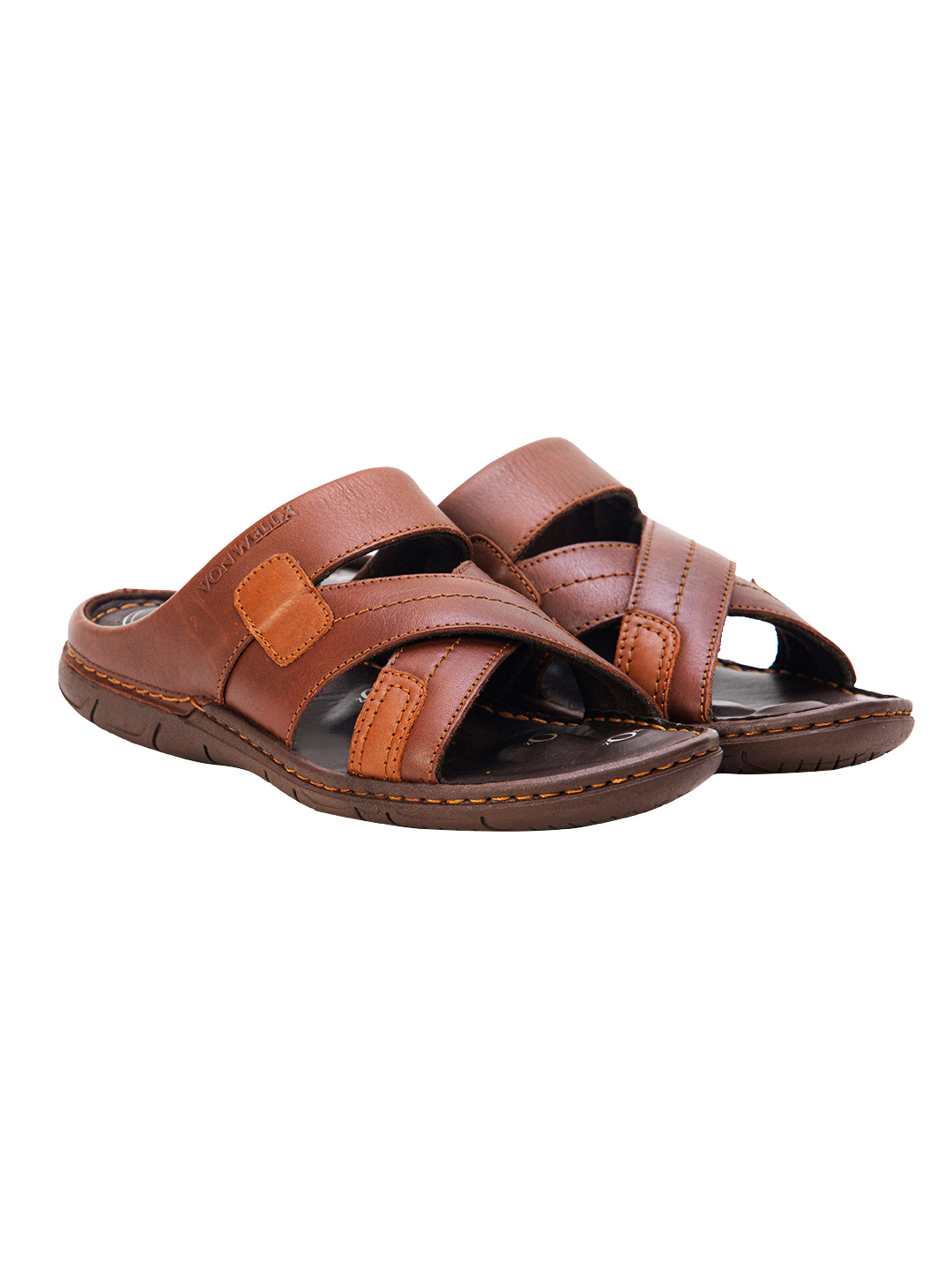 Buy VON WELLX GERMANY COMFORT ROVE BROWN SLIPPERS In Delhi
