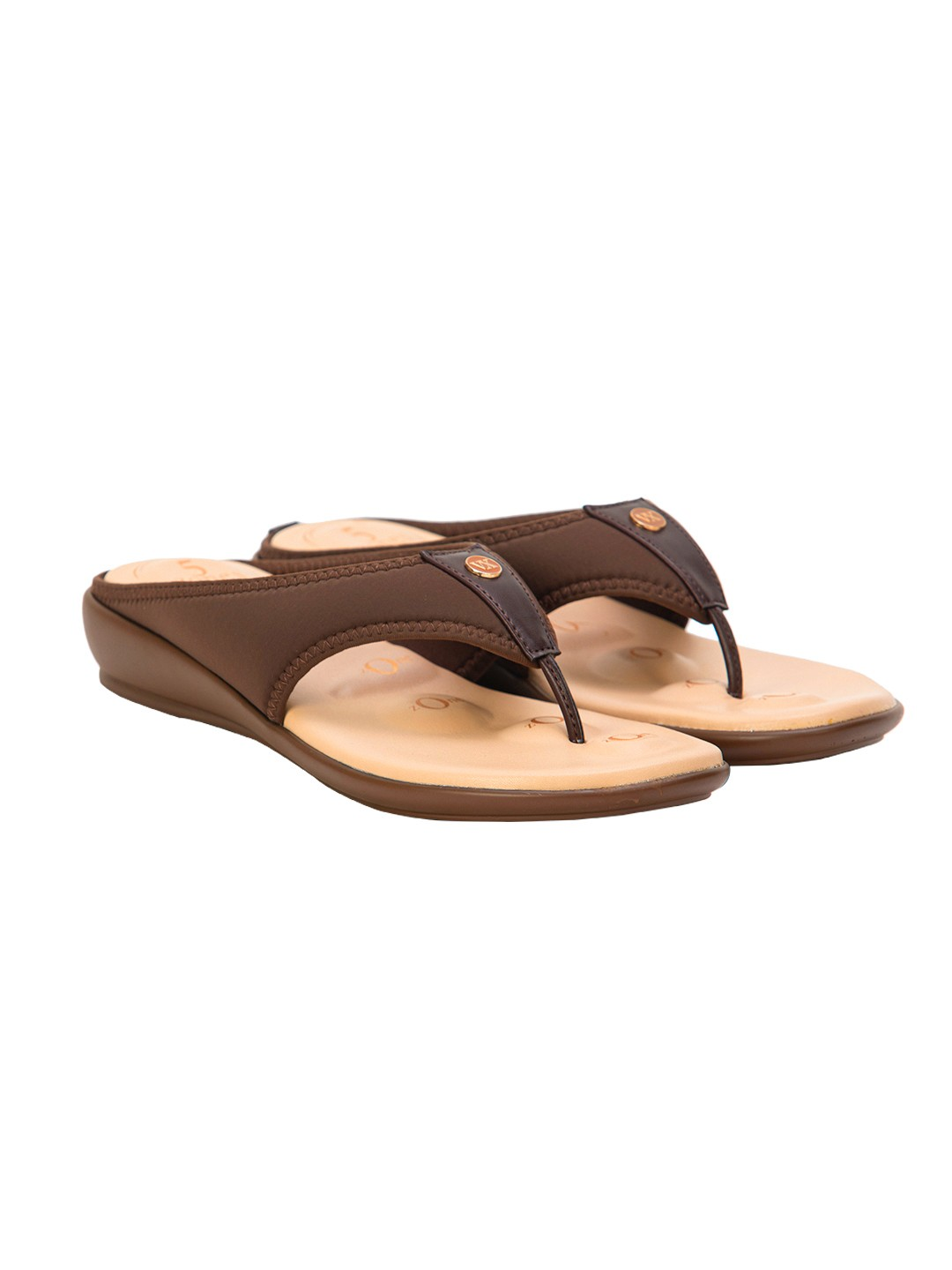 Buy VON WELLX JOANNA COMFORT BROWN SLIPPERS In Delhi