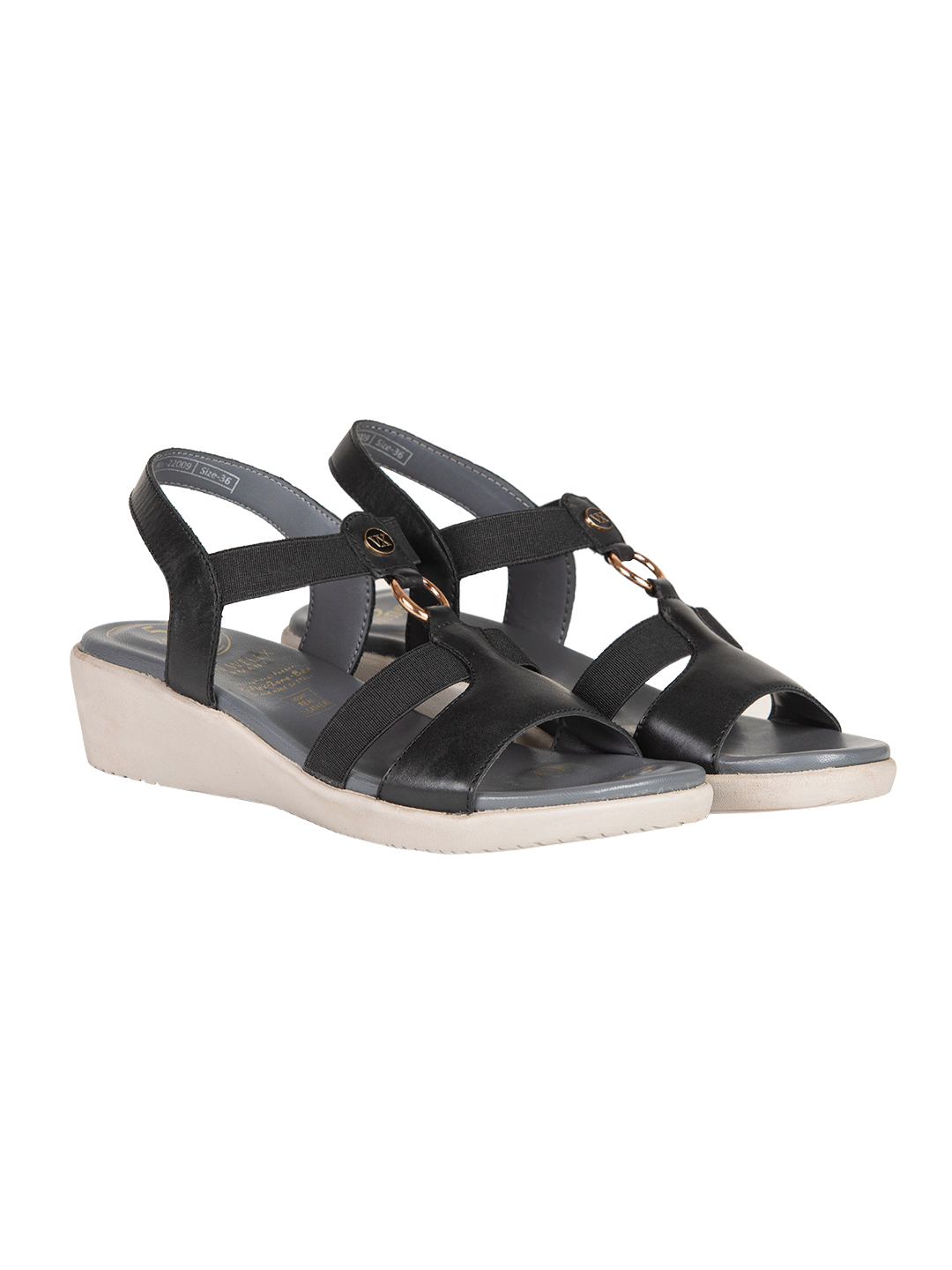 Buy VON WELLX AMOS COMFORT BLACK SANDALS In Delhi