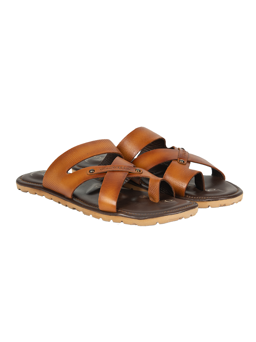 Buy VON WELLX GERMANYCOMFORT TAN ELIJAH SLIPPERS In Delhi