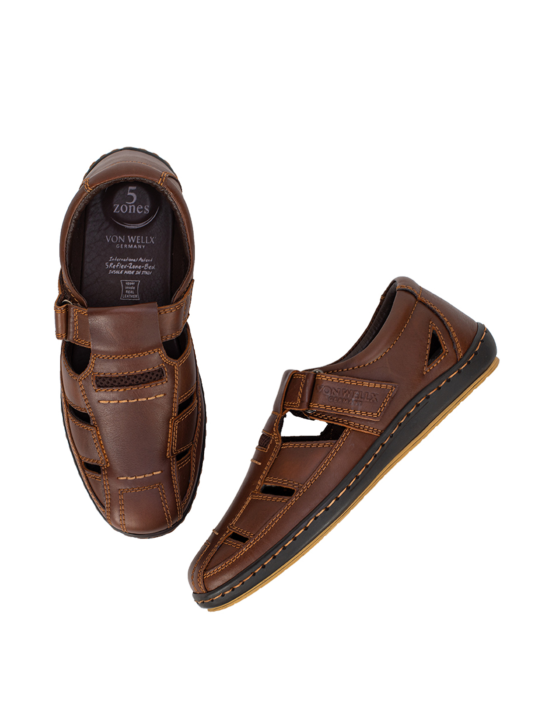 Buy Von Wellx Germany Comfort Brown Canter Sandals Online in Maharashtra