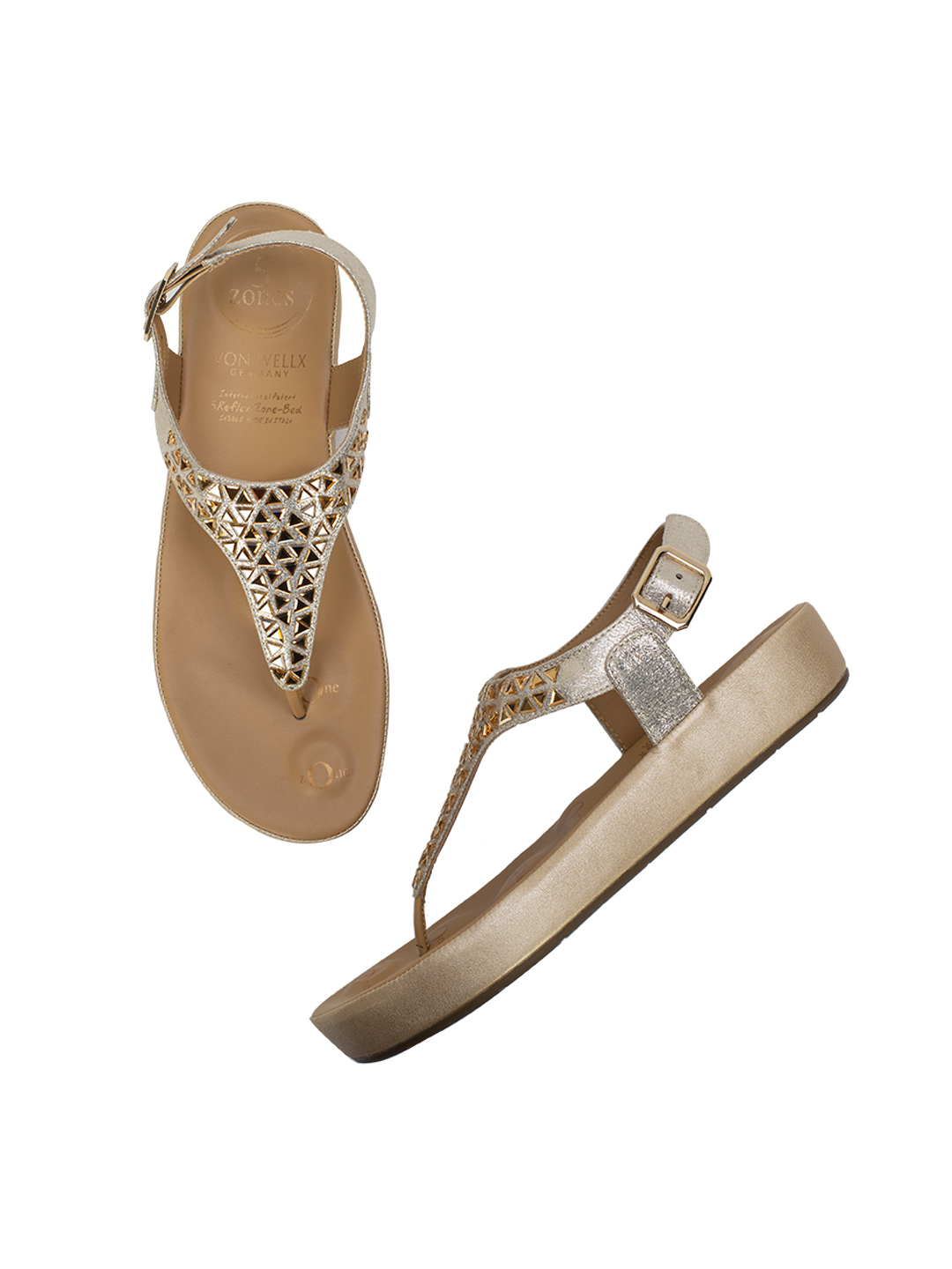 Buy Von Wellx Germany Comfort Haven Golden Sandals Online in Ludhiana