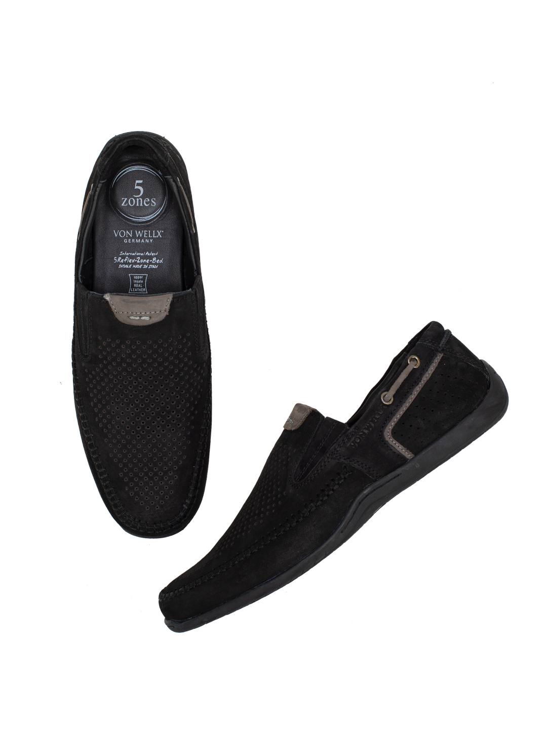 Buy Von Wellx Germany Comfort Black Ian Shoes Online in Rajkot