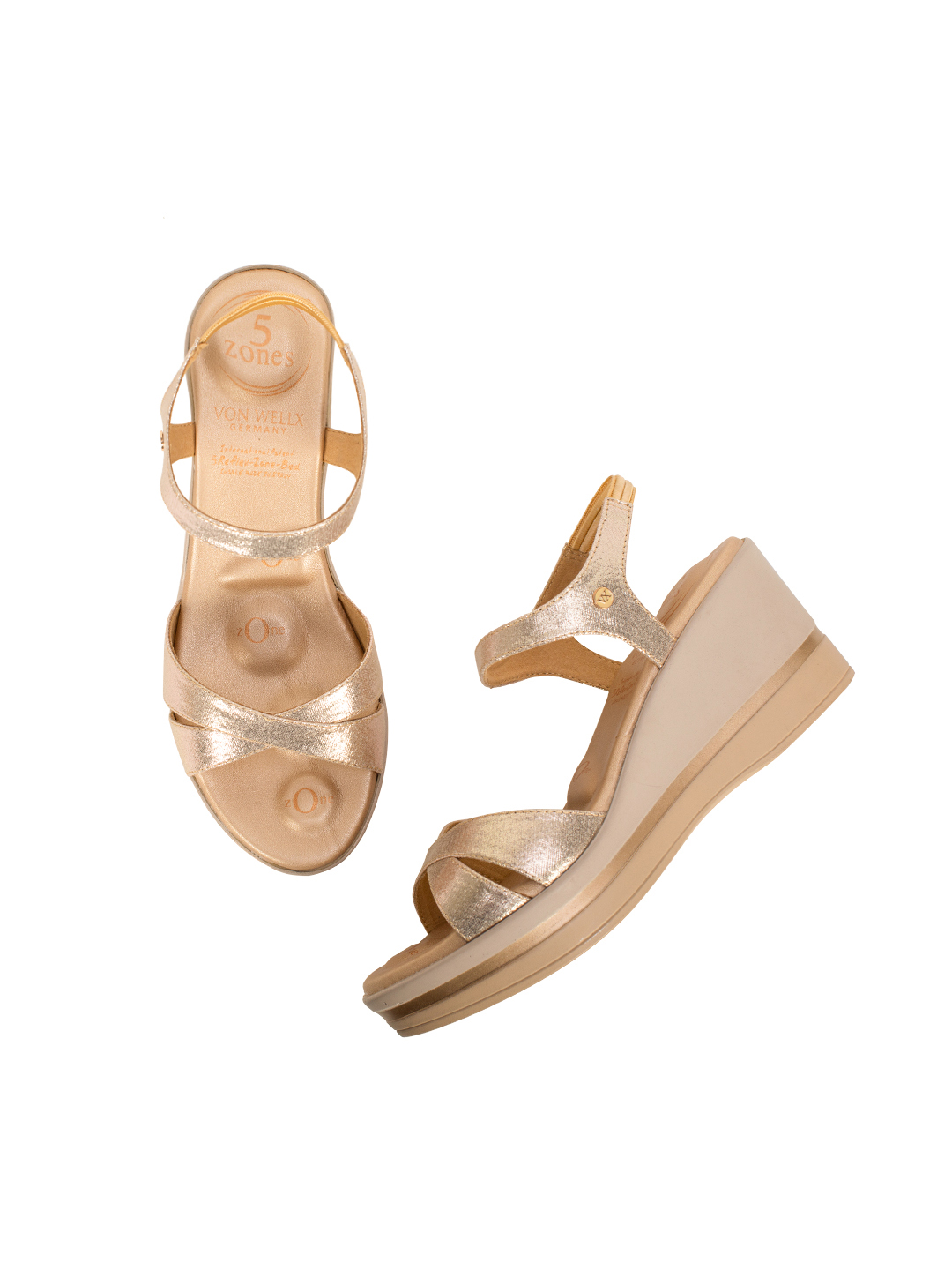 Buy Von Wellx Germany Comfort Skylar Golden Sandals Online in Ranchi