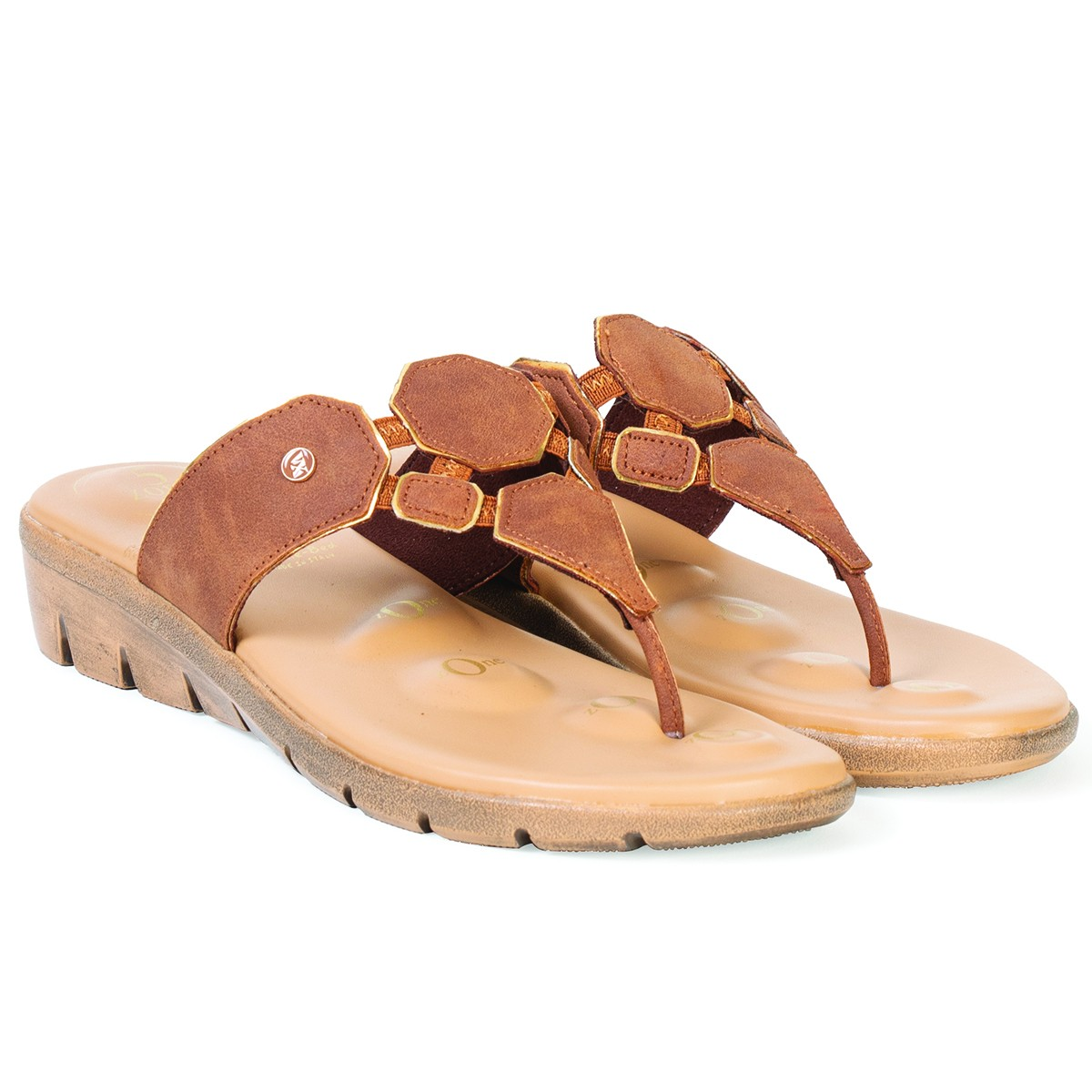 Buy Von Wellx Germany Comfort Salive Tan Slippers Online in Ahmedabad