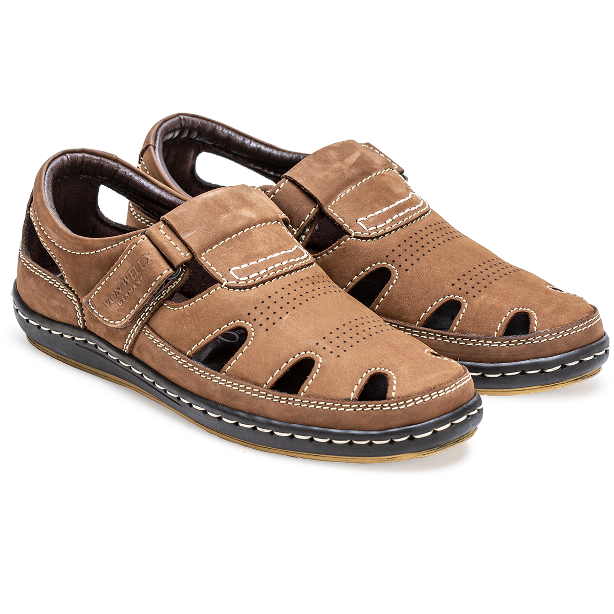 Buy Von Wellx Germany Comfort Tread Chikoo Sandals Online in Maharashtra