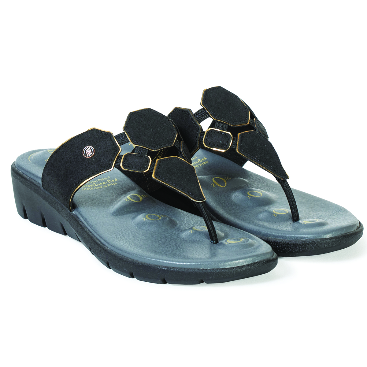 Buy Von Wellx Germany Comfort Salive Black Slippers Online in Ahmedabad