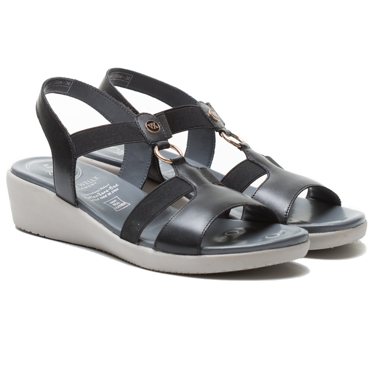 Buy Von Wellx Amos Comfort Black Sandals Online in Ludhiana