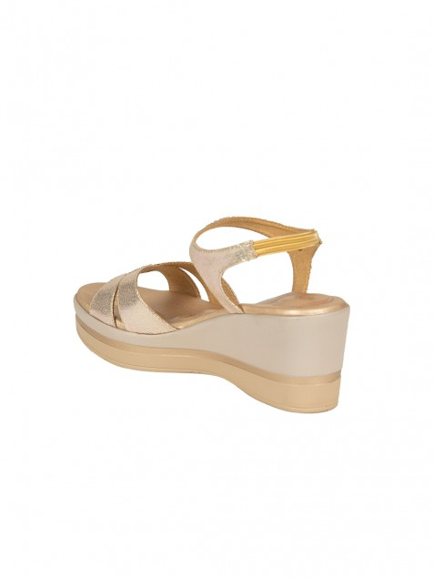 Buy Von Wellx Germany Comfort Skylar Golden Sandals Online in Agra