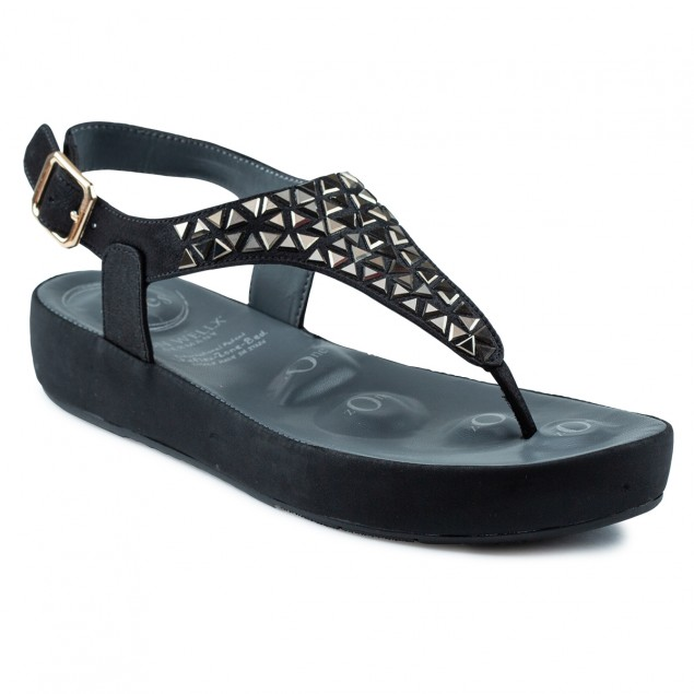 Buy Von Wellx Haven Comfort Black Sandal Online in Ludhiana