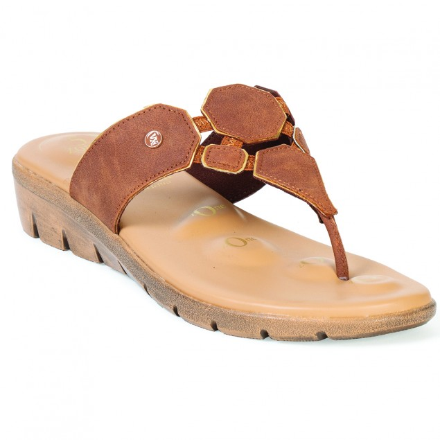 Buy Von Wellx Germany Comfort Salive Tan Slippers Online in Indore