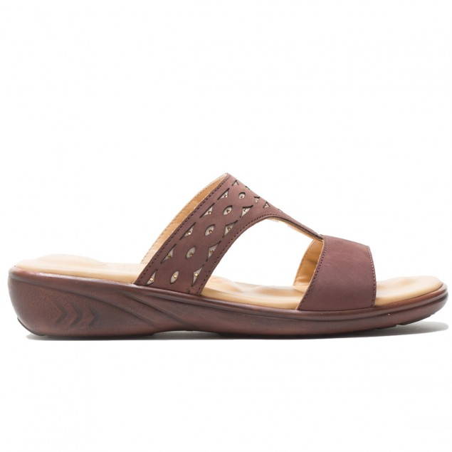 Buy VON WELLX THEA COMFORT BROWN SLIPPERS In Delhi