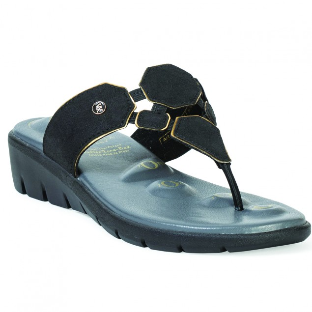 Buy VON WELLX GERMANY COMFORT SALIVE BLACK SLIPPERS In Delhi